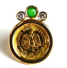 22K Gold Mexican Enamel Coin Pin