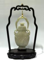Chinese Jade Vase Hanging on Wood Stand