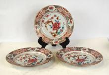 Three Chinese Rose Medallion Export Plates