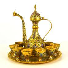 Persian Gilt Enamel Bronze Teapot Set