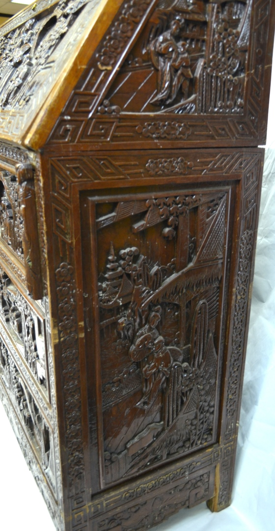 Chinese wood carving desk dresser cabinet for Chinese kitchen cabinets nj