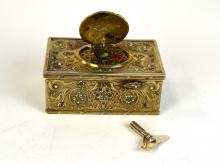 Silver Semi Precious Stones Singing Bird Music Box