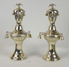 Pair of Sterling Torches Finials