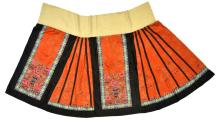 Chinese Red Orange Silk Embroidered Skirt