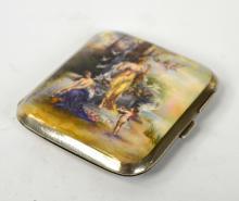 Silver Enamel Cigarette Box