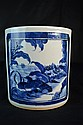Chinese Blue & White Brushpot with Qiling