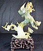 Large Chinese Carved Green Jade Tree With Birds