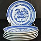 Set Of Six Chinese Blue and White Plates