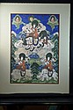 Tibetan Religious Painting on Board with Silk Matting