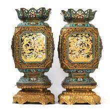 Pr Chinese Gilt Cloisonne Lanterns