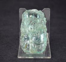 Chinese Carved Blue Tourmaline Pendant