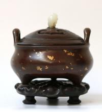 Ming. Chinese Gold-Splashed Bronze Censer