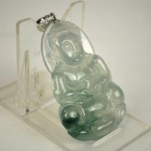GIA Cert. Chinese Carved Jadeite Guanyin Pendant