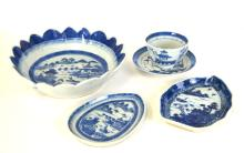 Five Chinese Export Blue & White Porcelain Pieces