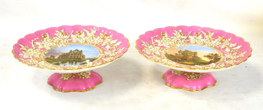 Pr Coalport Painted Porcelain Center Stem Dishes