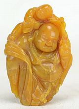 Chinese Soapstone Carving of Buddha & Youth