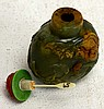Chinese Carved Green & Russet Jade Snuff Bottle