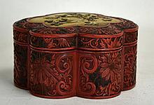 19th C. Chinese Floriform Cinnabar Box