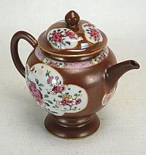 Chinese Brown Glaze Rose Medallion Porcelain Teapot