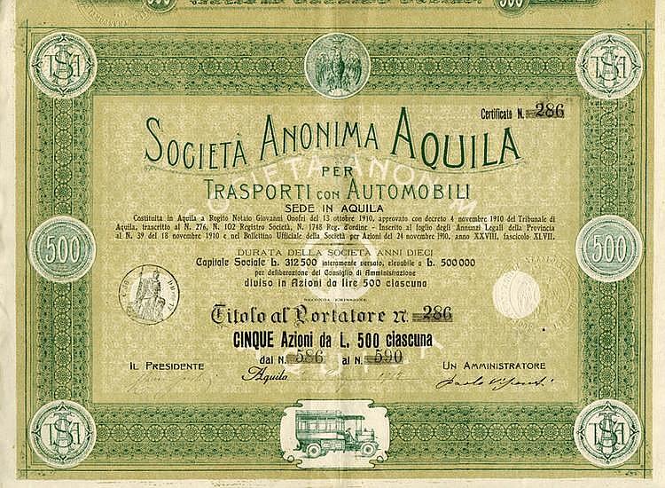 S.A. Aquila per Trasporti con Automobili