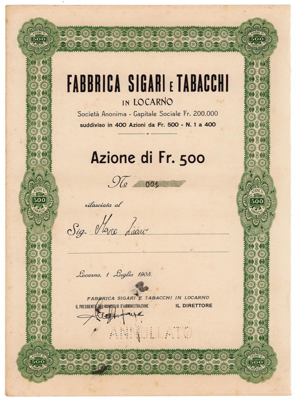 Fabbrica Sigari e Tabacchi in Locarno