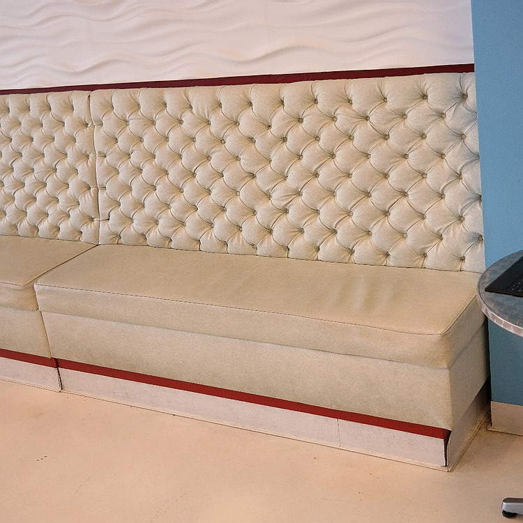 (2) White Restaurant Wall Bench Booth Seat