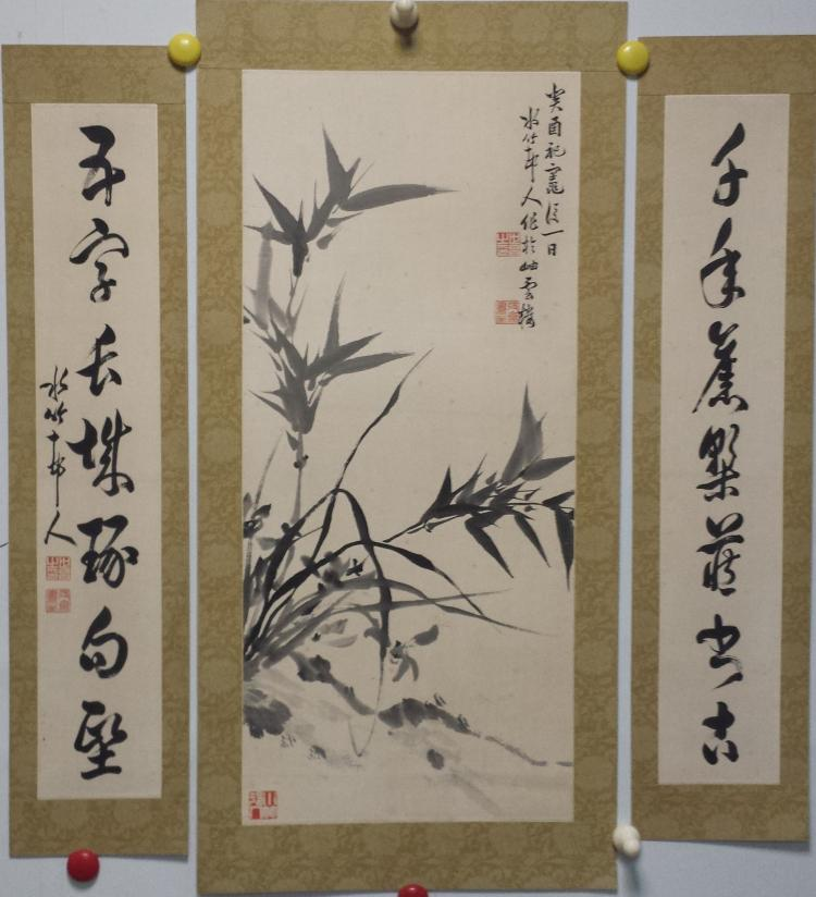 Antique Chinese Scrolls: CHINESE SCROLL PAINTING OF BAMBOO AND CALLIGRAPHY COUPLET