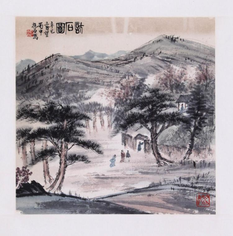 Antique Chinese Scrolls: CHINESE SCROLL PAINTING OF MOUNTAIN VIEWS