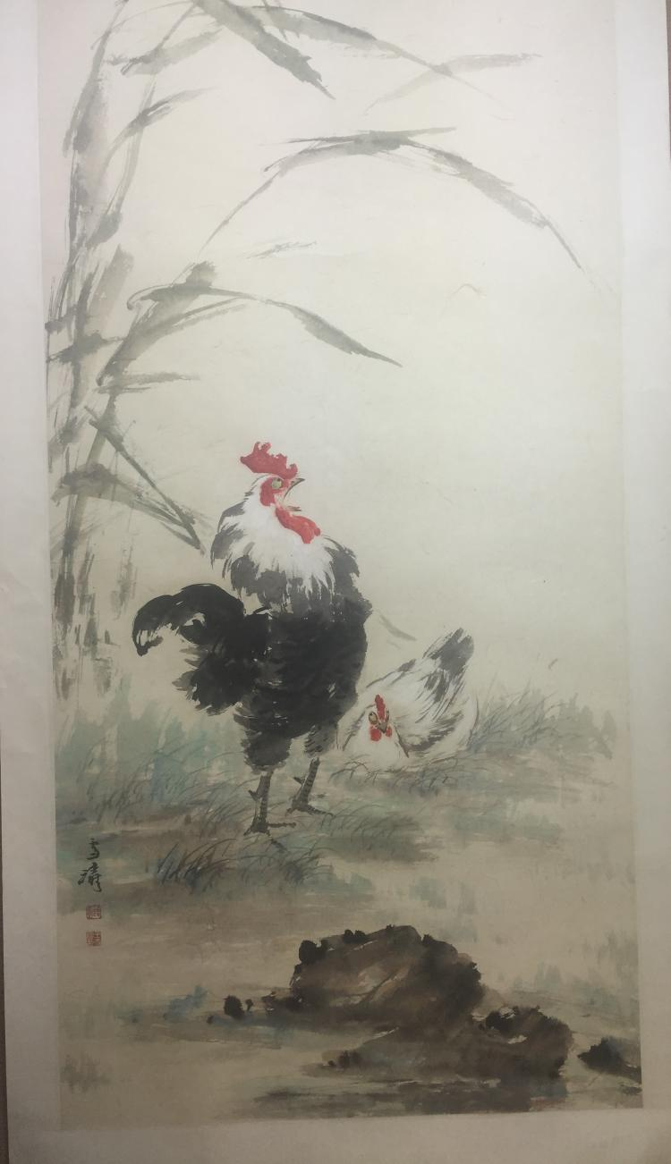 CHINESE SCROLL PAINTING OF ROOSTER AND HEN