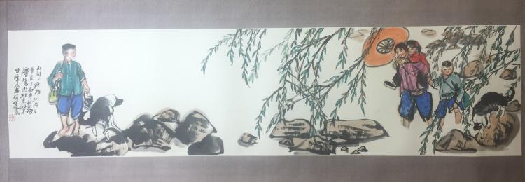 CHINESE SCROLL PAINTING OF BOYS AND GIRLS IN RIVER