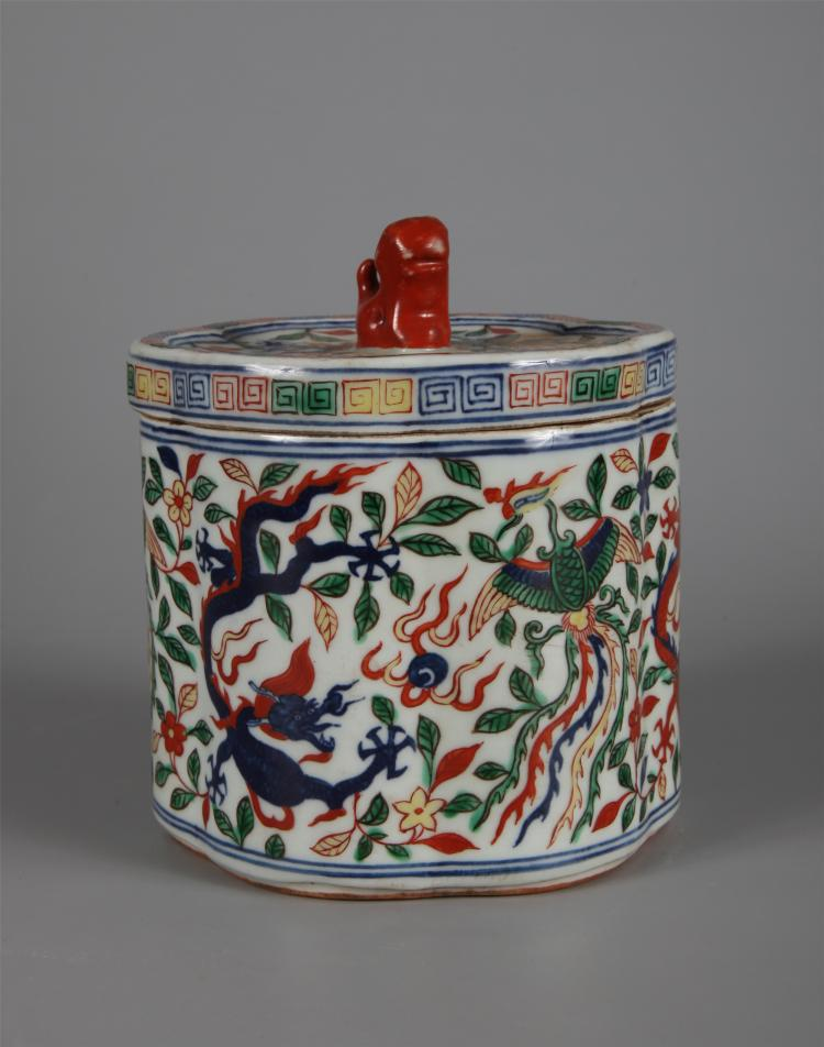 CHINESE PORCELAIN BLUE AND WHITE WUCAI LIDDED FLORAL SHAPE JAR