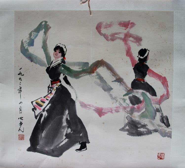 CHINESE SCROLL PAINTING OF DANCERS