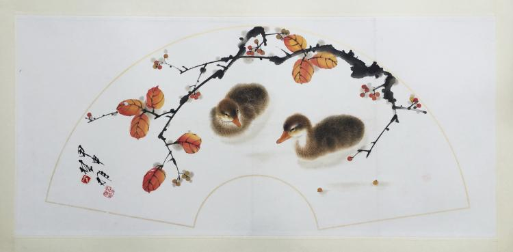 CHINESE SCROLL PAINTING OF TWO DUCKS