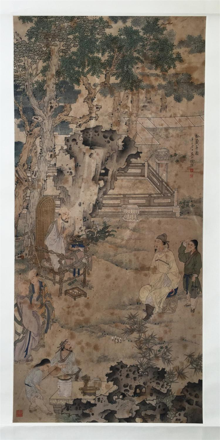 CHINESE SCROLL PAINTING OF OLD MAN SEATED UNDER TREE