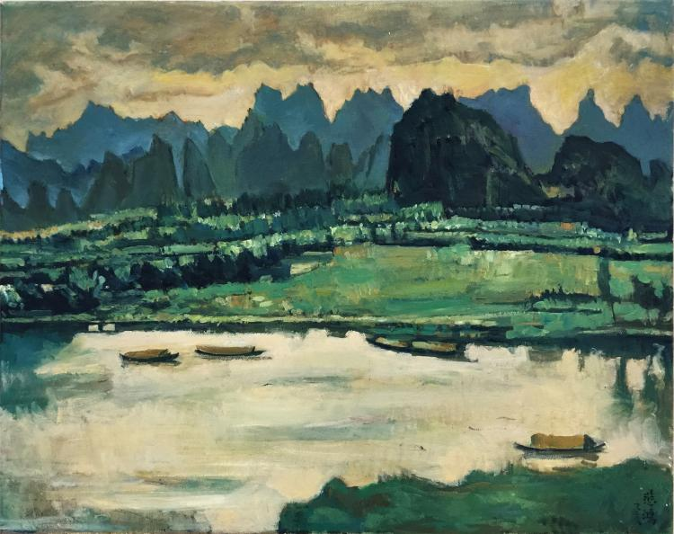 CHINESE OIL PAINTING ON CONVAS OF LAKEVIEWS