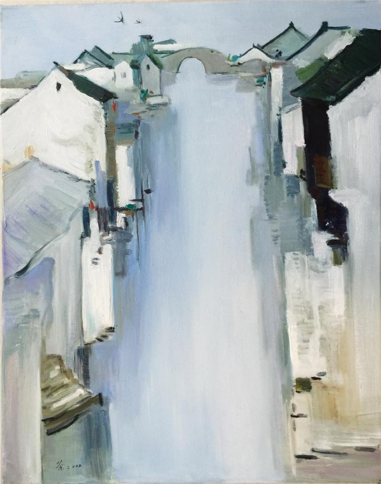 CHINESEOIL PAINTING ON CONVAS OF HOUSES BY THE RIVER