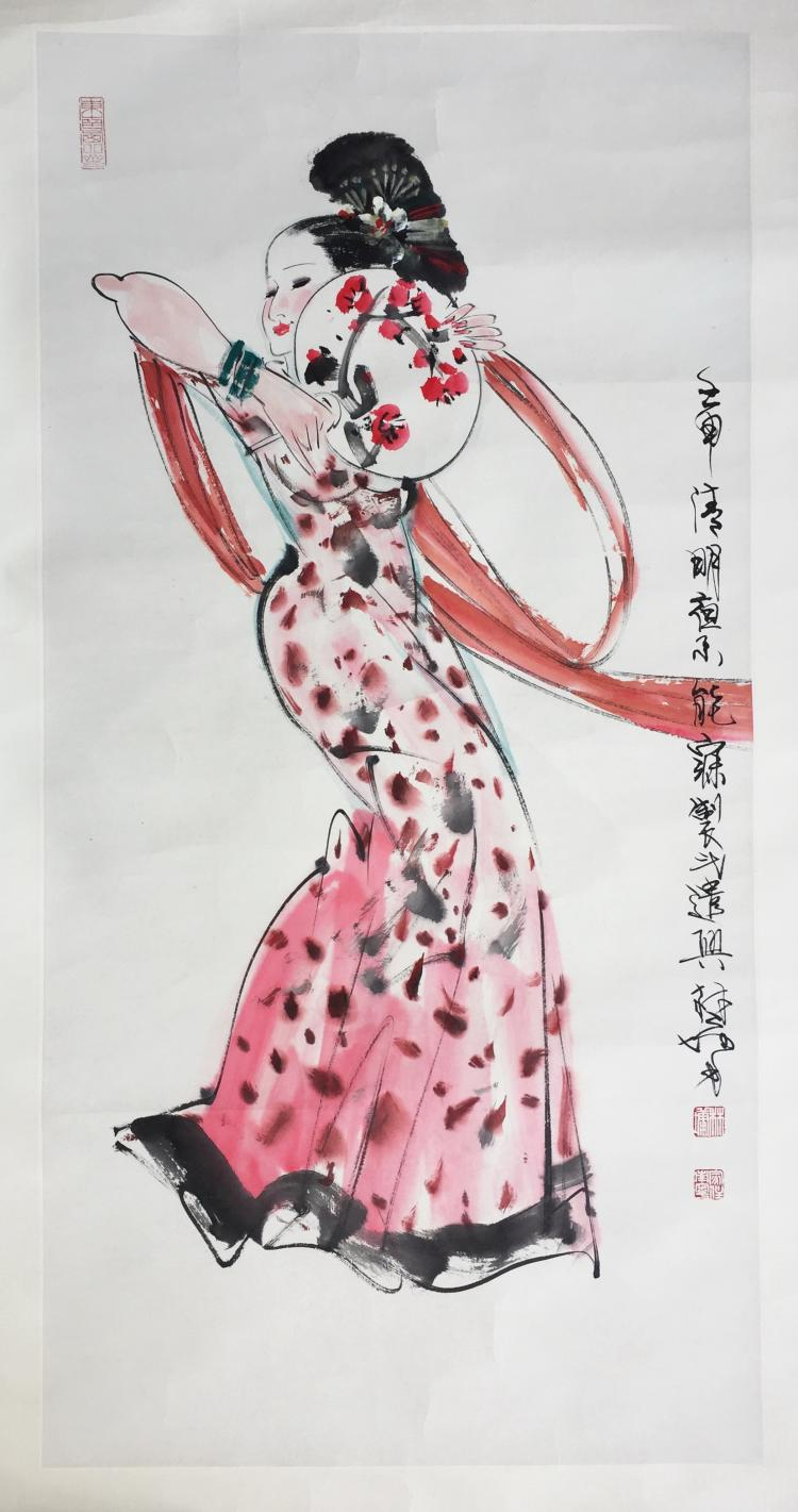 CHINESE SCROLL PAINTING OF FEMALE DANCER