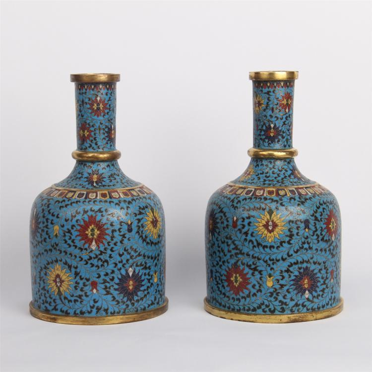 PAIR OF CHINESE CLOISONNE BELL VASE