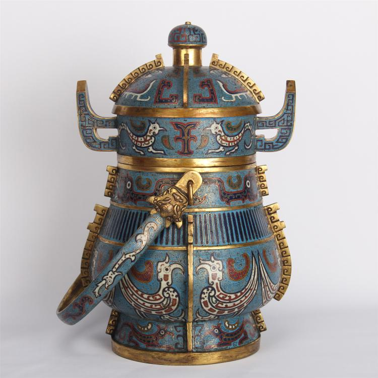 CHINESE CLOISONNE LIDDED KETTLE