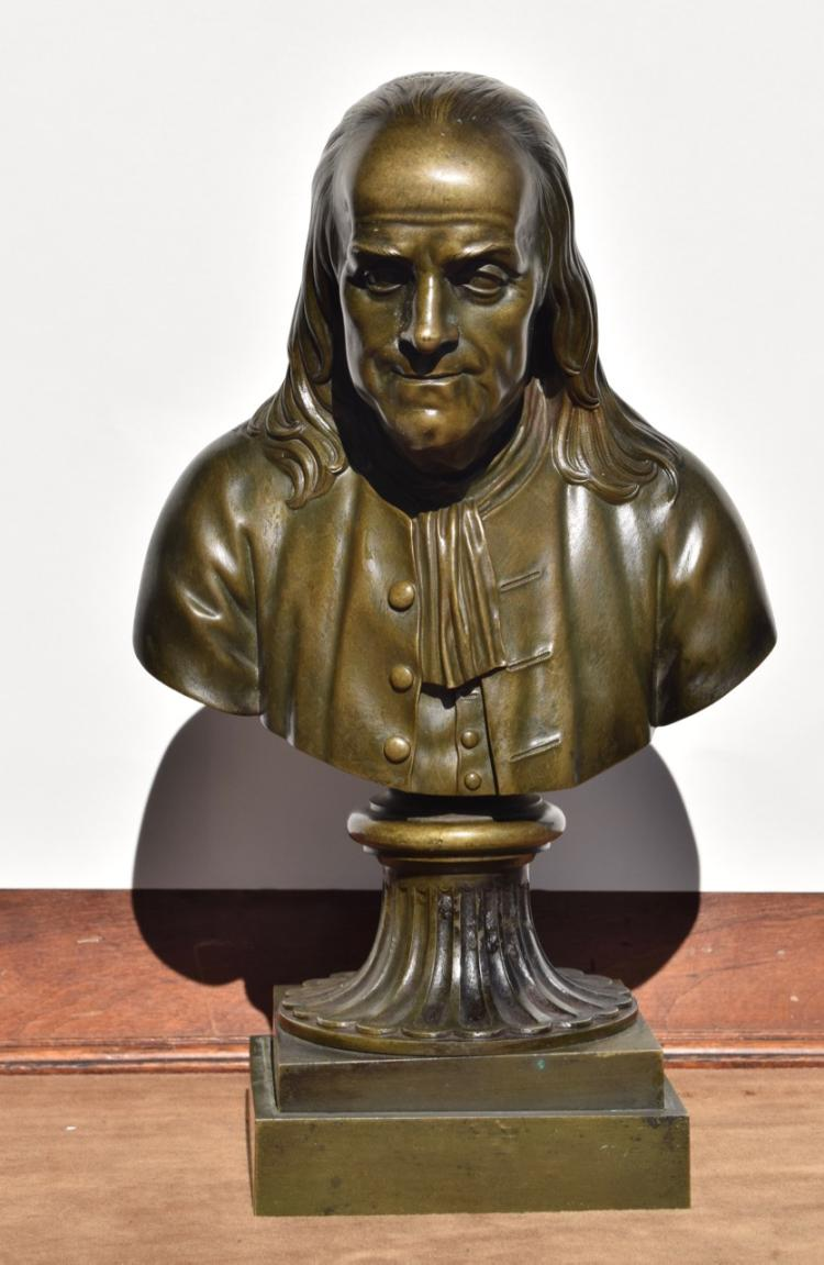 Bust of Benjamin Franklin, French, Period, after Houdon