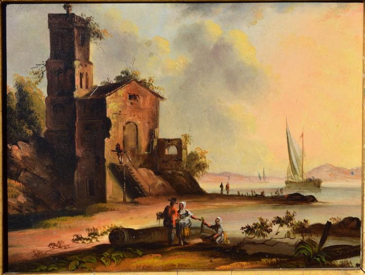 Continental painting on Tin. Shore Scene, Circa 1860