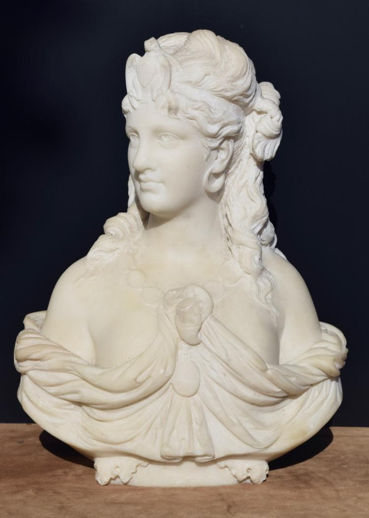 Pasquale Romanelli (1812-1887), Marble Bust of America