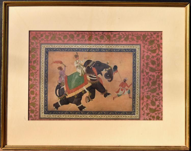 Indian Watercolor of Riders on an Elephant