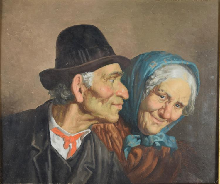 Elderly Couple, Continental, Oil on Panel