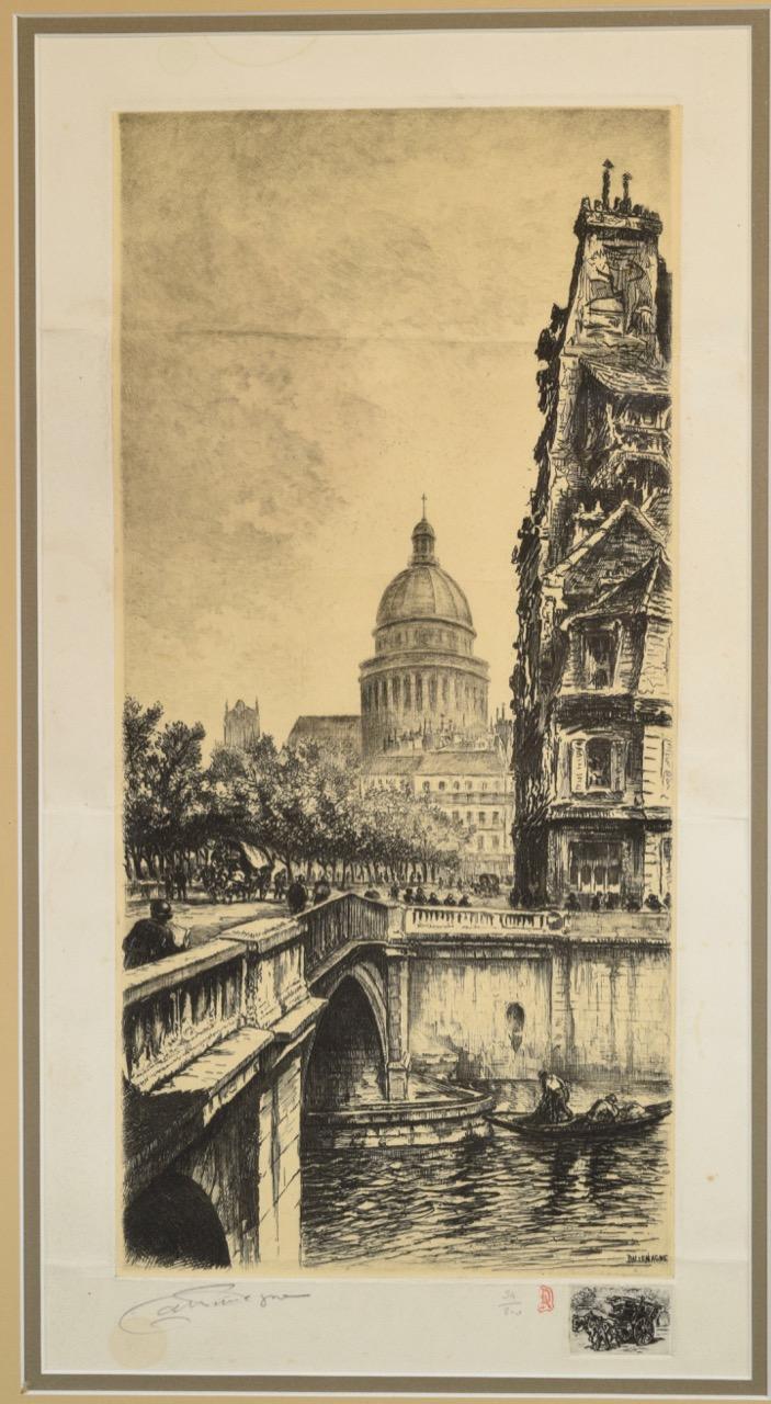 Aimé Edmond Dallemagne, Parisian Street Scene with Bridge and Church,