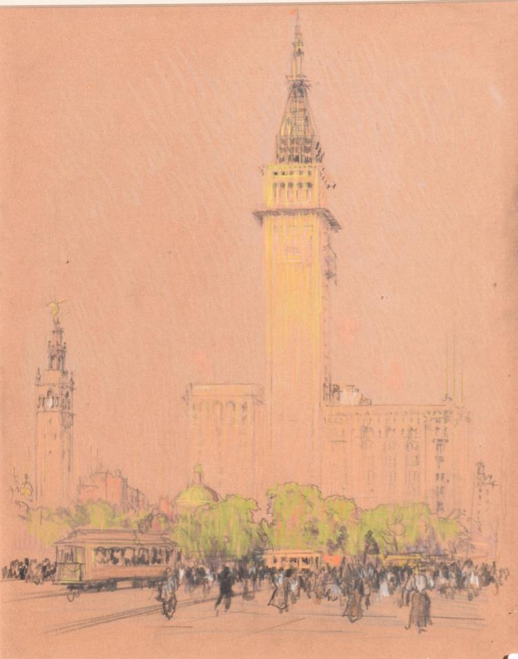 Drawing of Madison Square Park and the Metropolitan Life Building