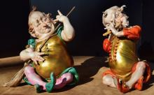 Two Humorous Musician Figurines. Capodimonte, Italian, Late 19th century, One marked