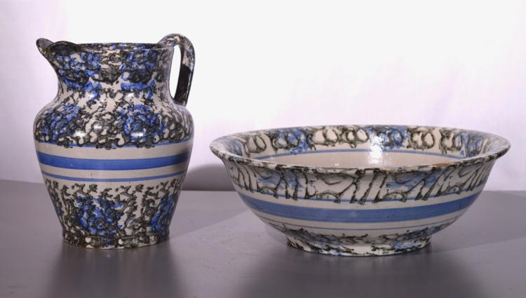Blue and Black Vintage Spongeware Pottery Pitcher and Basin.