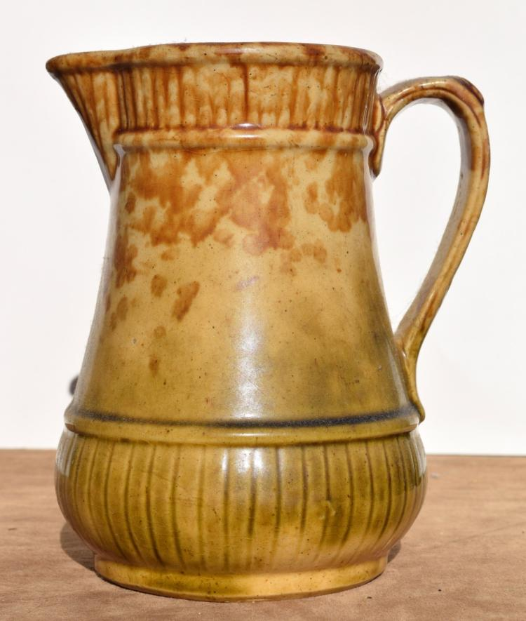 Brown on Ochre Vintage Spongeware Pottery Pitcher