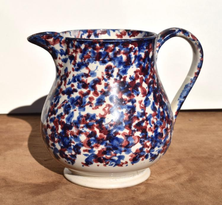 Blue and Red on White Vintage Spongeware Pottery Pitcher,